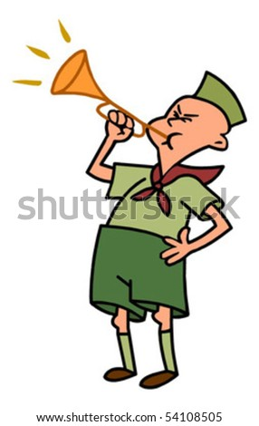 scout blowing horn