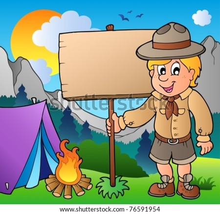 Scout boy holding board outdoor - vector illustration.