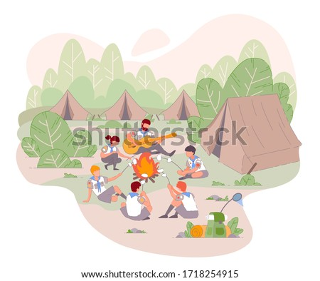 Scout camp. Children in the camp by bonfire and playing guitar. Group of teen kids on outdoors party at summer. Cartoon boy and girl in forest adventures with tent scout camp. Vector young scout kids.