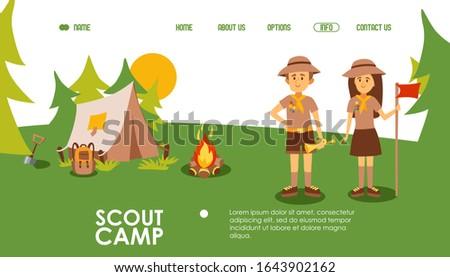 scout camp website  vector
