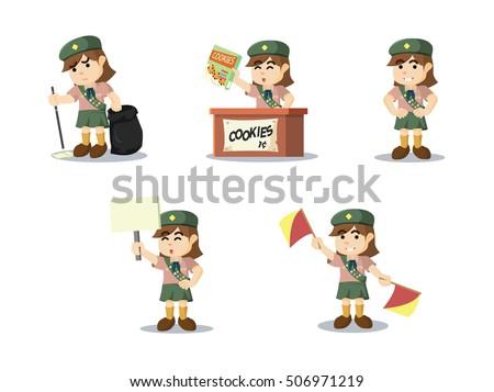 scout girl cartoon set