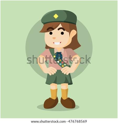 scout girl illustration design