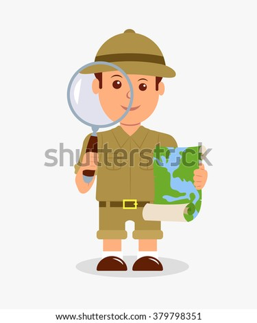 Scout holding a magnifier and a map on a white background. Concept design isolated character explorer boy