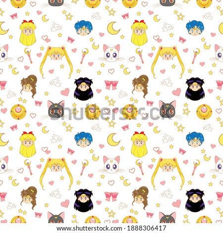 scout sailor moon patter seamless design. White background cute design