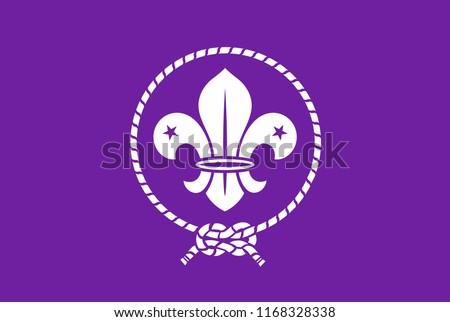 Scout symbol. Scout original flag. Scout badge.  Stock photo ©