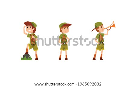 Scouting Boys Activity Set, Boy Scouts Wearing Khaki Uniform Looking into Distance, Pleying Trumpet Vector Illustration Stock photo ©