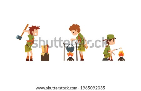 Scouting Boys Set, Boy Scouts Wearing Khaki Uniform Cooking Food on Bonfire, Roasting Marshmallow Vector Illustration Stock photo ©