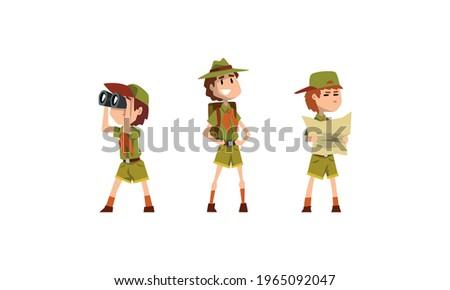 Scouting Boys Set, Boy Scouts Wearing Khaki Uniform Looking Binoculars, Examining Map Vector Illustration Stock photo ©
