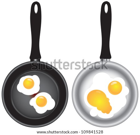 Scrambled eggs in a frying pan in two versions. Vector illustration.