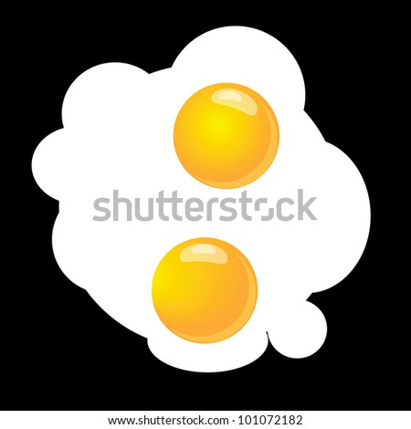 Scrambled eggs, two on a black background. Vector illustration.