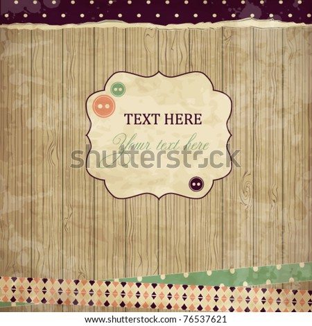 Scrap card,vintage  design - stock vector