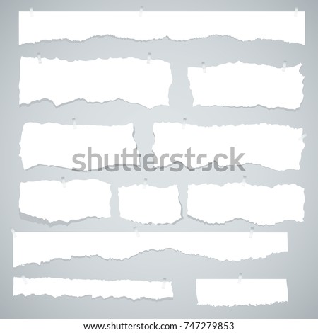 Scrap paper. Torn pieces of white sheet. Flat vector cartoon illustration. Objects isolated on white background.
