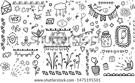 Scrap Set Elements. Cozy Hygge style. Birthday. Hand drawn colorful floral, around, heart, vector arrows. Doodle set from different elements. Hygge comfort. Cozy. Romance. Holiday in February. Vector