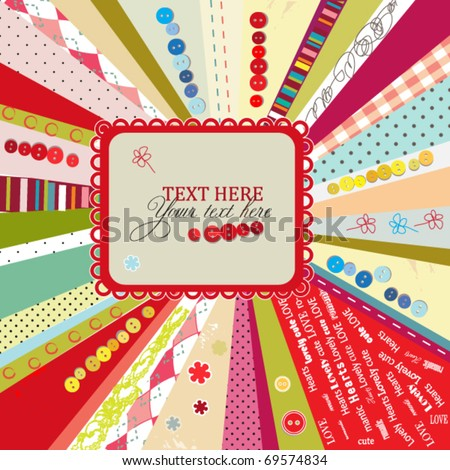 Scrap template design with blank space for your text, vector colorful card