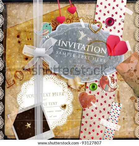 Scrap template of vintage design with blank space for your photo and text