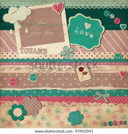 Scrap template of vintage worn distressed design, love card - stock vector
