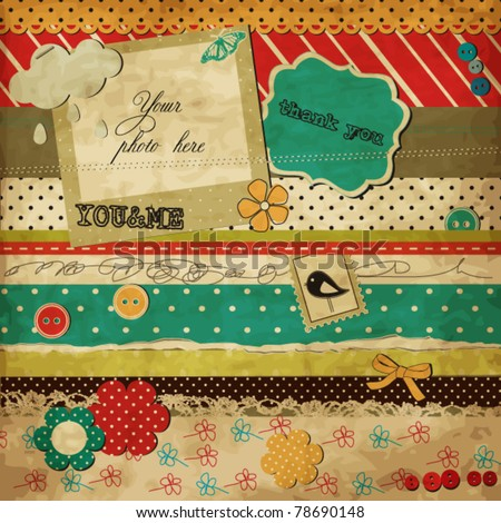 Scrap template of vintage worn distressed design with blank space for your photo and text