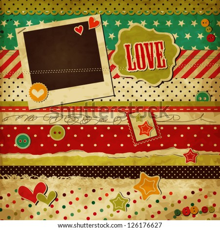 Scrap template of vintage worn distressed design with blank space for your photo and text, love design for Valentine's day