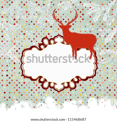 Scrap template of vintage worn distressed design with deer and snowflake. And also includes EPS 8 vector