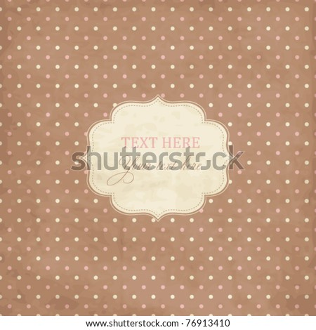 Scrap template,vintage polka dot card