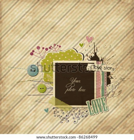 Scrap template with elements and photo-frame