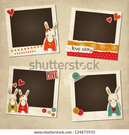 Scrap vintage set of photo frames, St.Valentine's Day photo frames, romantic templates with rabbits