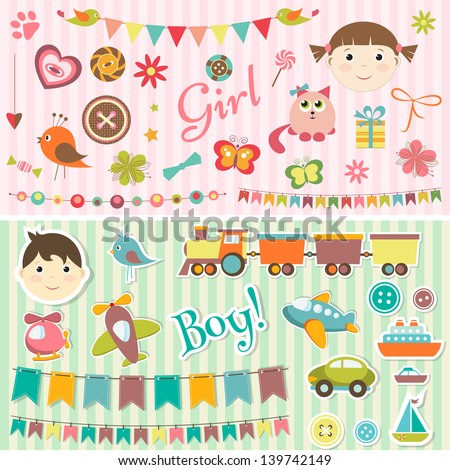 Scrapbook baby boy and girl set