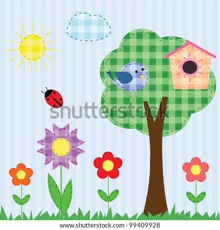 Scrapbook checkered landscape with flowers, bird and ladybug