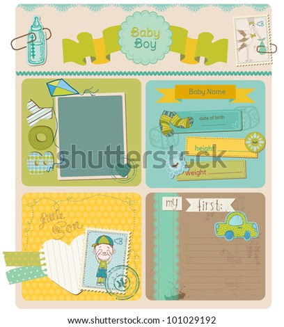 Scrapbook Design Elements - Baby Boy Cute Set - in vector
