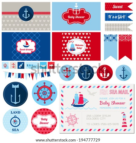 Scrapbook Design Elements Baby Shower Nautical Theme in vector