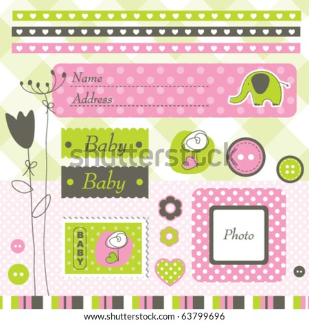 Scrapbook design elements Cute hand - drawn design elements for cards, greetings, albums...