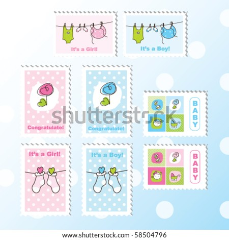scrapbook design elements for baby boy or baby girl Cute Baby stamps - decorative elements for cards, albums, scrapbook, invitation