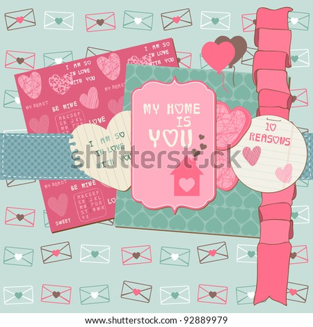 Scrapbook Design Elements - Love Set - for cards, invitation, greetings in vector