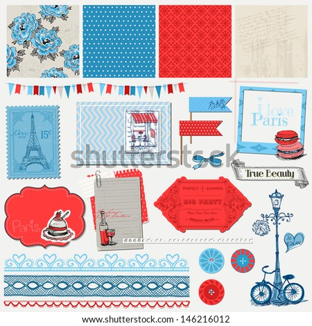 Scrapbook Design Elements Paris Vintage Set in vector