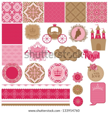 Scrapbook Design Elements Princess Girl Birthday Set in vector