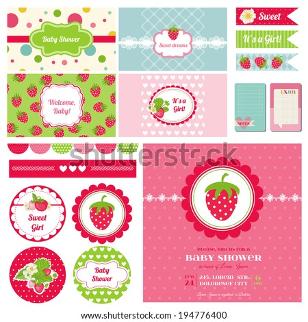 Scrapbook Design Elements Strawberry Baby Shower Theme in vector