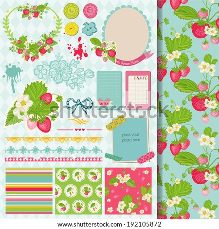Scrapbook Design Elements Strawberry Shabby Chic Theme in vector