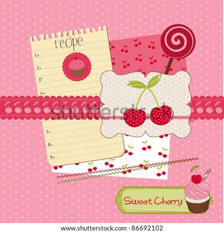 Scrapbook design elements - Sweet Cherry and Desserts in vector