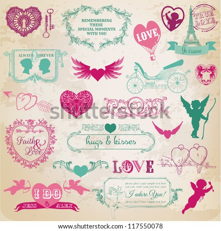 Scrapbook Design Elements - Valentine\'s Day Love Set - for wedding, invitation, scrap - in vector