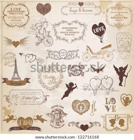 Scrapbook Design Elements - Valentine's Day Love Set - for wedding, invitation, scrap - in vector