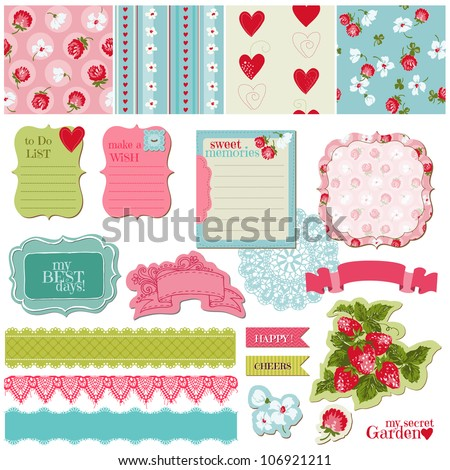 Scrapbook Design Elements Vintage Flowers and Strawberry Set in vector
