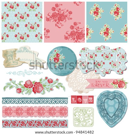 Scrapbook Design Elements Vintage Flowers in vector