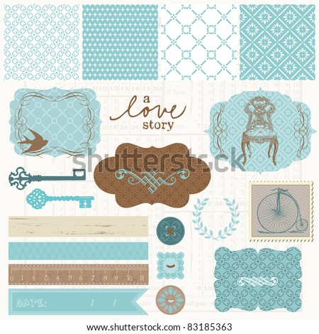 Scrapbook design elements Vintage Love Set