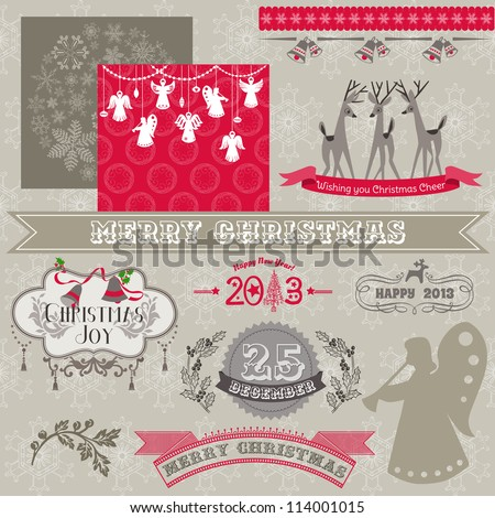 Scrapbook Design Elements Vintage Merry Christmas and New Year in vector