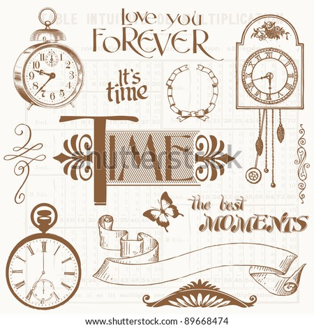 Scrapbook Design Elements - Vintage Time and Clocks - stock vector