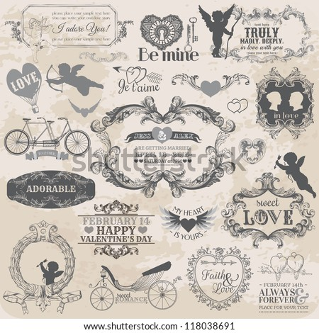 Scrapbook Design Elements Vintage Valentine's Love Set for design scrapbook in vector