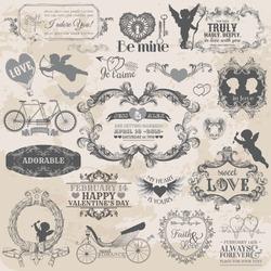 Scrapbook Design Elements. Vintage Valentine's Love Set in vector