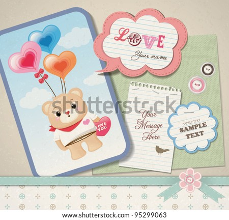 Scrapbook design with lovely teddy bear