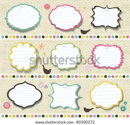 scrapbook elements various shape of note papers