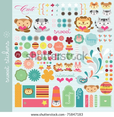 scrapbook elements with a lot of cute tags and stickers - stock vector